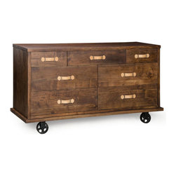 Zuo Era - Oaktown Wide Dresser Distressed Walnut - Bring home our Oaktown Wide Dresser with fresh designs and fresh styles. It's seven drawers have plenty of room for clothing and any other bedroom items you need to store neatly out of sight.