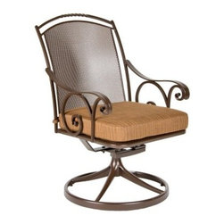 O.W. Lee Silana Swivel Rocker Wrought Iron Dining Chair - Keep dinner conversation - or poolside reading or Sunday lazing - easy-moving with the O.W. Lee Silana Swivel Rocker Dining Chair. Crafted with a durable, precision-cut, hand-forged wrought iron base, this elegant armchair boasts a sturdy round swivel base with a smooth-operating built-in rocking mechanism - in other words, gentle movement guaranteed to lull you into total contentment. Venetian scrollwork curls around a sturdy micro mesh seat. Choose one of several frame colors, and choose to top the chair with plush fabric cushions in a vast variety of shades.Materials and construction: Only the highest quality materials are used in the production of O.W. Lee Company's furniture. Carbon steel, galvanized steel, and 6061 alloy aluminum is meticulously chosen for superior strength as well as rust and corrosion resistance. All materials are individually measured and precision cut to ensure a smooth, and accurate fit. Steel and aluminum pieces are bent into perfect shapes, then hand-forged with a hammer and anvil, a process unchanged since blacksmiths in the middle ages. For the optimum strength of each piece, a full-circumference weld is applied wherever metal components intersect. This type of weld works to eliminate the possibility of moisture making its way into tube interiors or in a crevasse. The full-circumference weld guards against rust and corrosion. Finally, all welds are ground and sanded to create a seamless transition from one component to another. Each frame is blasted with tiny steel particles to remove dirt and oil from the manufacturing process, which is then followed by a 5-step wash and chemical treatment, resulting in the best possible surface for the final finish. A hand-applied zinc-rich epoxy primer is used to create a protective undercoat against oxidation. This prohibits rust from spreading and helps protect the final finish. Finally, a durable polyurethane top coating is hand-applied, and oven-cured to ensure a long lasting finish. About O.W. Lee Company An American family tradition, O.W. Lee Company has been dedicated to the design and production of fine, handcrafted casual furniture for over 60 years. From their manufacturing facility in Ontario, California, the O.W. Lee artisans combine centuries-old techniques with state-of-the-art equipment to produce beautiful casual furniture. What started in 1947 as a wrought-iron gate manufacturer for the luxurious estates of Southern California has evolved, three generations later, into a well-known and reputable manufacturer in the ever-growing casual furniture industry.
