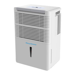 Keystone - 50 Pint Dehumidifier with Electronic Controls, Energy Star - The Keystone KSTAD50B 50 Pt. Dehumidifier removes up to 50 pints of moisture from the air per day in a room up to 3000 square feet. Features include electronic controls with LED display, a 24-hour timer, a transparent water level indicator and a full bucket alert with automatic shutoff. Continuous draining option is available using a standard garden hose (hose not included). It also has a removable, easy-cleaning dust filter with a clean-filter alert. The auto-restart saves your settings during a power outage and the rolling casters make the unit easy to move to another location.50 Pt. Dehumidifier|Removes up to 50 pints of moisture from the air per day|For a room up to 3000 square feet|Electronic controls with LED Display and 24-hour timer|Auto-restart saves your settings during a power outage|Settings include Normal, Turbo and Auto-Defrost|Water tank with transparent water level indicator|Full bucket alert with automatic shut-off|Continuous draining option available with a standard garden hose (hose not included)|Removable, easy-cleaning dust filter with a clean-filter alert|  kstad50b| keystone| 50-pint| 50| pt. pt| pint| dehumidifier| air| home| comfort| environment  Package Contents: dehumidifier|mesh filter|manual|warranty  This item cannot be shipped to APO/FPO addresses