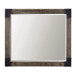 "Carolyn Kinder - Carolyn Kinder Nelo Mirror X-64670 - Weathered Wood Frame With An Aged Gray Wash And Rustic Black Corner Accents. Mirror Features A Generous 1 1/4"" Bevel. May Be Hung Horizontal Or Vertical. Matching Console Table Is Item #24315."
