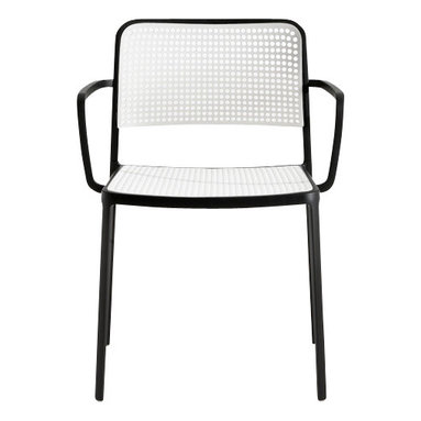 Kartell - Audrey Arm Chair, Set of 2, Black/White - Audrey, the eclectic seat combining aluminum and plastic and designed by Piero Lissoni is a versatile and contemporary chair which because of its simple, clean lines due to a special die-casting process is composed of only two parts and made without welding. It is multifunctional and adaptable to all uses, indoor, outdoor, the home, office and contract, with its wonderfully rich range of combinations (about 50 in all). Audrey comes in either the chair or the armchair (with arms) version with seat and back in various colors of plastic and the aluminum frame has three versions: painted aluminum, painted white or painted black. This seat can also be used outdoors.