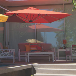 Sirius Square Cantilever Umbrella from Shademaker USA - Pictured with Koverton Parkview Knest Deep Seating Collection.