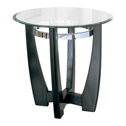 Homelegance - Homelegance Raven Round End Table in Ebony - Raven collection is sleek contemporary design featuring ebony finish Hardwood table base, metal chrome ring, and beveled glass top.