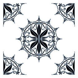 Odhams Press - Regency Blue RETile Decal, Clear Background - RETile decals can be used to accent or transform your existing ceramic, stone or glass tiles. They are easy to apply and can be removed in the future without leaving a sticky residue.