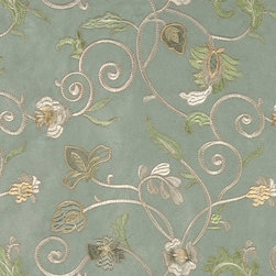 Light Green Ivory And Gold Embroidered Vines Suede Upholstery Fabric By The Yard - P0221 is a heavy duty upholstery grade suede polyester fabric. This fabric is great for all indoor applications.