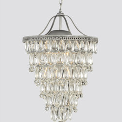 None - Cone Shape 4-light Matte Silver Crystal Chandelier - Add an upscale look to any room with this elegant crystal chandelier that features a classic cone shape and a metal base. This light fixture holds four lights, and the illumination is scattered by the crystals to produce a pretty, magical effect.