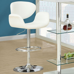 Monarch - White / Chrome Metal Hydraulic Lift Barstool - The contemporary and unique design of these white bar stools are no doubt chic, thanks to sleek leather-look upholstery. The curved armrests and exquisitely cushioned seats are designed for your comfort. The sturdy frame and convenient fully circular foot rest are finished in an ever so fashionable chromed metal. A 360 degree swivel mechanism and easy-to-use hydraulic lift system will take you to new heights!