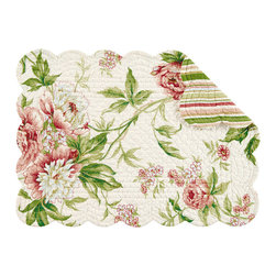 C F enterprises - Pink Brianna Rectangular Placemat - High quality quilted placemats by C F Enterprise transform your table in fresh colors and styles.    Off white with greens, touches of white and brighter shades of pink.