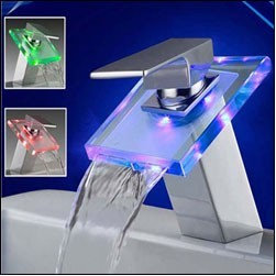 Sumerain S1008CM Waterfall Single Handle LED Bathroom Sink Faucet -
