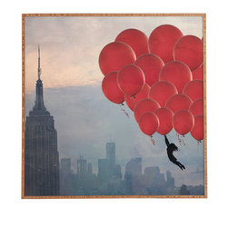 Maybe Sparrow Photography Floating Over The City Framed Wall Art - Bamboo frame with high gloss print