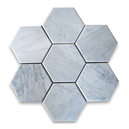 """Stone Center Online - Carrara White 6 inch Hexagon Tile Tumbled - Marble from Italy - Premium Grade Carrara Marble Italian White Bianco Carrera Tumbled 6"""" Hex Wall & Floor Tiles are perfect for any interior/exterior projects such as kitchen backsplash, bathroom flooring, shower surround, countertop, dining room, entryway, corridor, balcony, spa, pool, fountain, etc. Our large selection of coordinating products is available and includes brick, herringbone, basketweave mosaics, field, subway tiles, moldings, borders, and more."""