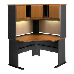 """BBF - Bush Series A 48"""" Corner Computer Desk with Hutch in Natural Cherry - Bush - Office Sets - WC57466PKG4 - Bush Series A Wood Corner Hutch in Natural Cherry (included quantity: 1) The Bush Series A Corner Hutch is a grand addition to the Bush Series A Corner Desk. Turning your workspace into a private tower of efficiency, this generous corner hutch features a wide variety of storage styles to suit your needs.  Features:"""