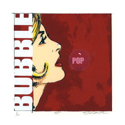 """Bubble Pop"" Artwork - Please note that the paper size is 10 x 10 inches. Side view of woman on red background"