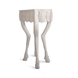 "Stag Leg Accent Table - 30"" - A tall accent table well-suited to holding a tray of drinks or displaying an elegant treasure, the Stag Leg Accent Table combines whimsy and formality into a breathtaking transitional take on past centuries' hunting-lodge antiques. Top with a mirrored coffer for an individual interest in the master bath or drape with a colored scarf for an eclectic feel in a guest room."