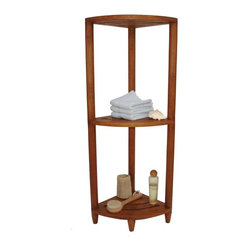 Aqua Teak - Aqua Teak Corner Stand - 326 - Shop for Caddies and Stands from Hayneedle.com! Put your unused bathroom corner to work with the handsomely handcrafted Aqua Teak Corner Stand. Featuring two open shelves in a stand made from mildew resistant teak this oil-stained furnishing is perfect for a moisture rich environment like the spa sauna or bathroom. You'll be able to organize towels toiletries and more on this versatile storage unit!About Aqua TeakAqua Teak was founded over two decades ago as a small family business in Melbourne Florida. Every piece in their wide array of handmade furniture is designed by the owner and then produced by professional artisans from Java Indonesia who have been working with teak wood for generations. Why teak? The plantation-grown material is an environmentally friendly option that's one of the most sought-after woods in the world because of its natural weather-resistance. Its resilience is an absolute must for Aqua Teak's innovative line of shower benches and other handmade furniture for the spa hotel and outdoor setting where water is prevalent. Aqua Teak's goal is 100% customer satisfaction and they stand proudly by their 5-year warranty of durable quality and lasting unique designs sure to look fabulous in your home.