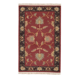 Nomadic Kilim NMD-702 Red Rug - 3'x5' - Nomadic Kilim NMD-702 Red: Traditional rugs inspired by Persian rugs, Antique Oriental rugs or other traditional area rugs are available now. ModernRugs. om is now also featuring traditional rug designs. Traditional Persian and Oriental rugs from ModernRugs. om are now available in a variety of colors and styles, and complement any space. Our traditional Persian rugs provide an elegant look. These Traditional antique Oriental rugs are timeless and add a touch of class to your home. This Traditional area rug is Hand Woven in India with 100% New Zealand Wool. The specific colors of this rug include Red, Charcoal, Brown, Gold, Light Green, Peach. he primary color of this rug is red.