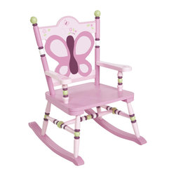 """Levels of Discovery - Sugar Plum Rocker - Pretty in shades of plum and pink with green and ivory accents Dainty butterfly and floral motif seat backButterfly and floral seat back. Understamp beneath the seat for personalization. Photo greeting card included. All chairs have a """"personalizable"""" understamp. All rockers include photo greeting card and envelope"""