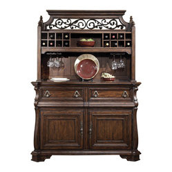 Liberty Furniture Arbor Place Buffet w/ Hutch in Brown, Dark Wood