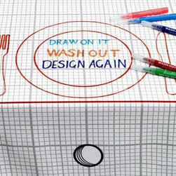 Doodle - Doodle Tablecloth - Draw On It, Wash It, Do It Again, Medium - When creativity strikes, you just have to go with it! The Doodle Tablecloth is the only piece of dinner décor that lets you design your own custom place settings and menus for your dinner parties or family supper! This set comes with one (1) top quality, 200-thread count cotton tablecloth and ten (10) washable fabric markers to create your own doodles. After dinner, just toss it in the washer and you'll have a blank slate for the next meal!