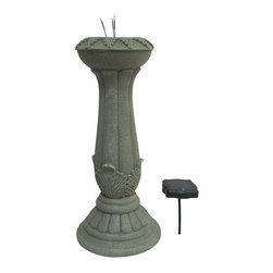 Alpine Fountains - Solar Gazing Globe Stand w 3 LED Lights - Made of Resin. 1 Year Limited Warranty. Assembly Required. Overall Dimensions: 10 in. L x 10 in. W x 24 in. H (10.58 lbs)Display your gazing globe collection with this beautiful and functional  solar Gazing Globe Stand.