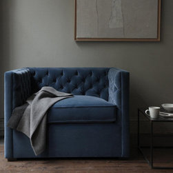 Mercer Tufted Club Chair - Wow. Not sure if a chair gets any smoother than this. It had me at tufted and blue velvet. Love the right angles on this piece.