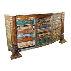 Mexicali Rustic Wood Bar Cabinet - This is the Mexicali Rustic Wood Bar Cabinet. Recycled wood, 100% solid and heavy making each one truly original and one-of-a-kind! Every piece in this line is beautiful and will add color and class to any room in the home. Expecting some slight variations in color makes this adventure all that more exciting. Wine rack holds 12 bottles, has 2 drawers, 3 open shelves and can hold approximately 15 wine glasses.