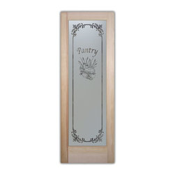 Sans Soucie Art Glass - Pantry Door Apple Pie Frosted Glass Door, 24 X 1.375 X 80 - Pantry Door - Apple Pie Lenora Border.  Quality, hand-crafted sandblast etched glass.