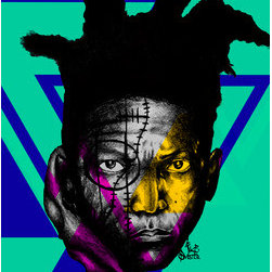 Basq In Abstract (Original) by Ike Slimster - A MIXED MEDIA PIECE OF HAITIAN AMERICAN ARTIST JEAN MICHEAL BASQUIAT, ONE OF THE MOST INFLUENTIAL ARTIST OF THE PAST DECADE WITH HIS UNORTHODOX STREET STYLE OF ABSTRACT DRAWINGS AND SYMBOLS