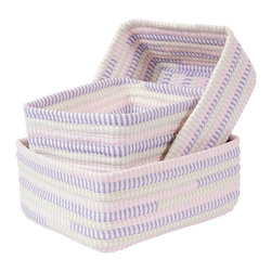 Colonial Mills - Ticking Stripe Basket Set - Dreamland Pink, Set of 3 - Not one, but three beautiful storage baskets made of pink cotton blend ticking stripe fabrics that gives them an artisan texture. Store lingerie, scarves, shoes or magazines. Made in the USA.