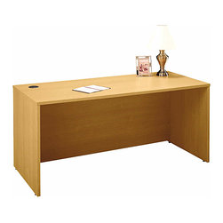 Bush Business - 66 in. Manager Desk in Light Oak - Series C - The Light Oak Series 66 inch Manager Desk will enhance any upscale contemporary office setting!  The stylish desk features a durable melamine top surface with protective PVC edge banding and boasts grommets in the desktop to allow concealed wire access. * Durable PVC edge banding protects desk from bumps and collisions. Grommets in desktop allow wire access and concealment. Leveling glides adjust for uneven floors. Mobile Pedestals and 3/4 Pedestal fit under the Desk. Assembly Instructions. 65.984 in. W x 29.37 in. D x 29.842 in. H