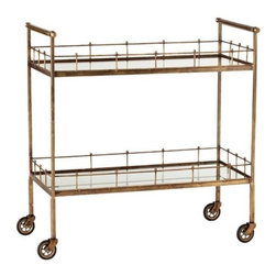 "Arteriors Home Lisbon Vintage Brass and GlassTable - This seriously stylish bar cart is perfect for that ""high style"" look. So glam and gold!"
