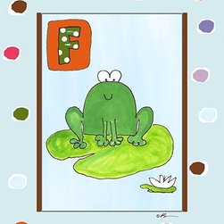 Oh How Cute Kids by Serena Bowman - F is for Frog in Blue, Ready To Hang Canvas Kid's Wall Decor, 8 X 10 - Each kid is unique in his/her own way, so why shouldn't their wall decor be as well! With our extensive selection of canvas wall art for kids, from princesses to spaceships, from cowboys to traveling girls, we'll help you find that perfect piece for your special one.  Or you can fill the entire room with our imaginative art; every canvas is part of a coordinated series, an easy way to provide a complete and unified look for any room.