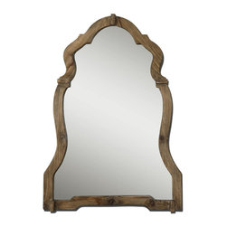 Uttermost - Uttermost Agustin 30x43 Wall Mirror - This ornate mirror features a light, walnut stained wood frame with burnished details.