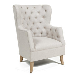 Cafer Club Chair - Sink into this stylishly luxe club chair for the ultimate comfort experience. Originating in France as a reaction to the less comfortable alternatives, this chair is given an elegant update and slight feminine touch with a light linen cotton upholstery and deep button tufting.