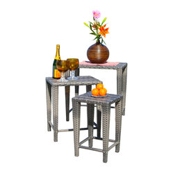 Great Deal Furniture - Sidney Outdoor Grey Wicker Nested Tables (Set of 3) - Manufactured for outdoor use, this set of three grey nesting tables looks great placed together as a group or in separate locations. These weather-resistant wicker tables store easily and provide a convenient place to serve snacks and beverages. Use them all together or around the yard for great versatility.