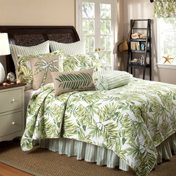None - Tropical Leaves Green Quilt Set (Bedskirt and Euro Shams Sold Separately) - This cotton quilt set provides a tropical feel to the bedroom with beautiful tropical leaves in shades of green. Optional bedskirt and sham options are available for purchase with this set.