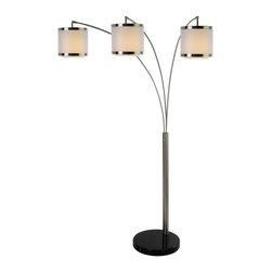 Joshua Marshal - Three Light Brushed Nickel  W/Shantung Two Tier Shade Floor Lamp - Three Light Brushed Nickel  W/Shantung Two Tier Shade Floor Lamp