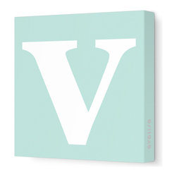 "Avalisa - Letter - Lower Case 'v' Stretched Wall Art, 12"" x 12"", Sea Green - Spell it out loud. These lowercase letters on stretched canvas would look wonderful in a nursery touting your little one's name, but don't stop there; they could work most anywhere in the home you'd like to add some playful text to the walls. Mix and match colors for a truly fun feel or stick to one color for a more uniform look."