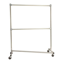 Z Racks - Heavy Duty Z-Rack Garment Rack w 5 ft. Double - Base Color: Silver. 500lb capacity. 14 gauge, 60 in. Long steel base (Environmentally safe powder coated finish ). 16 gauge, 72 in. upright bars and double hang rails. 1 5/16 outside diameter upright bars and hang rail. Grey non-marking soft rubber with TP center 4 in. casters . Made in the USA. 63 in. L x 23 in. W x 79 in. HThis Z-Rack is designed to hold up to 500 lbs of apparel, while maximizing all five feet of length. Also, because the two rows are placed on top of each other, the rack with steady 4 in. casters will not tip under a heavy load. The second hang rail can be placed anywhere desired along the uprights.