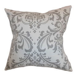 """The Pillow Collection - Olavarria Damask Pillow Storm Twill 18"""" x 18"""" - Create a refreshing look for your space with this damask throw pillow. This accent pillow features a crisp white background with gray prints. This square pillow will bring a romantic twist to your interiors. Mix and match with other patterns like ikats, toiles and paisleys for a chic style. Crafted from 100% soft cotton fabric. Hidden zipper closure for easy cover removal.  Knife edge finish on all four sides.  Reversible pillow with the same fabric on the back side.  Spot cleaning suggested."""