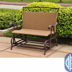 International Caravan - International Caravan Valencia Resin Wicker/ Steel Frame Double Glider Chair - Make your outdoor area more inviting with this resin wicker steel frame double glider chair. This stylish glider is durable and comfortable. This piece is UV and water resistant and features a brown steel frame with a wicker seat.