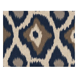 Close to Custom Linens - 50W x 84L Shower Stall Curtain, Lined, Adrian Indigo Blue Taupe Beige Geometric - Adrian is a contemporary medium scale geometric in blues and taupe on a neutral beige linen-textured background. Reinforced button holes for 8 curtain rings.
