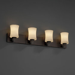 Justice Design Group - Fusion Modular Four-Uplight Halogen Dark Bronze Bath Fixture - - 4-Uplight Bath Bar (Halogen). Material Used: Metal. Install as uplight only  - Shade Detail - Weave  - Shade Material - Artisan Glass Justice Design Group - FSN882460WEVEDB
