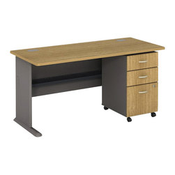"BBF - Bush Series A 60"" Computer Desk with 3-Drawer File Cabinet in Light Oak - Bush - Computer Desks - WC64360PKG2 - Bush Series A 3 Drawer Vertical Mobile Wood File Cabinet in Light Oak (included quantity: 1) Put your files in good hands with the Bush Series A Collection Three Drawer File Cabinet, a subtle solution which fits easily under virtually any desk. This classy filing cabinet stands nicely on its own and will excellently complement other Bush Furniture pieces.  Features:"