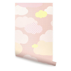 Clouds Pink - Clouds peel & stick fabric wallpaper. This re-positionable wallpaper is designed and made in our studios in New Jersey. The designs are printed onto an adhesive backed fabric that can be removed, repositioned and reused over and over again. They do not leave any residue on your walls and are ideal for DIY room makeovers without the mess and headaches of traditional wallpaper.
