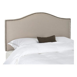 Safavieh - Connie Full Headboard - Taupe - Make an elegant statement with the Connie Headboard in tightly upholstered Taupe linen fabric with thick padding to assure luxurious comfort. Nailhead detailing outlines the classic camelback silhouette of this full headboard for sophisticated bedroom fashion.