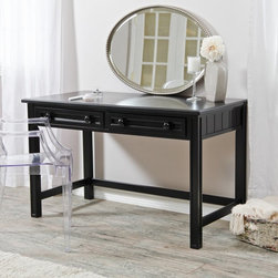 Fashion Bed Group - Casey Black Bedroom Vanity - RN1050 - Shop for Vanity Tables Benches Chairs and Stools from Hayneedle.com! Sometimes all it takes to update a classic like the Casey Black Bedroom Vanity is a modern hue - in this case it's a sleek black finish that ratchets up the glamour. Crafted with durable wood this clean-lined vanity boasts a spacious top for mirrors and perfume bottles and two narrow storage drawers - each fronted with two knobs - that catch makeup brushes and delicates. Pair it with a cool contemporary chair or stool for a truly eclectic look.About Fashion Bed GroupFashion Bed Group is a Leggett and Platt Company known for its innovative fashion beds daybeds futons bunk beds bed frames and bedding support. Created in 1991 Fashion Bed Group is a large consolidation of three leading bed manufacturers. Its beds are manufactured of genuine brass plated brass cast zinc cast aluminum steel iron wood wicker and rattan. Fashion Bed Group's products are distributed throughout North America from warehouses located in Chicago Los Angeles Houston Toronto and Ennis Texas.