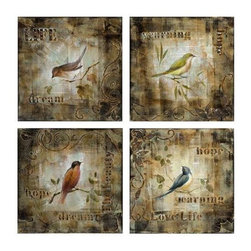 Chapette Birds Oil Paintings - Set of 4 - Depicting delicate inspiring words and feathered friends, this set of four oil paints represent the charming little creature that reminds us all to wake up with a song in our hearts.