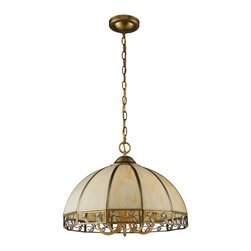 Elk - Gerard 5-Light Chandelier in Solid Brushed Brass - This solid brushed brass pendant features slumped cream tiffany panels with mini glass accents set within a vine motif.
