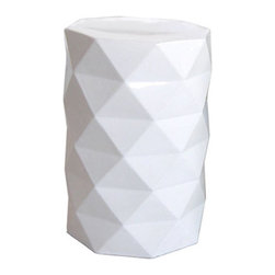 Faceted Ceramic Stool, White - This is the stool that got me hooked. We're using it as a side table, but it will serve as seating for extra guests occasionally, too.